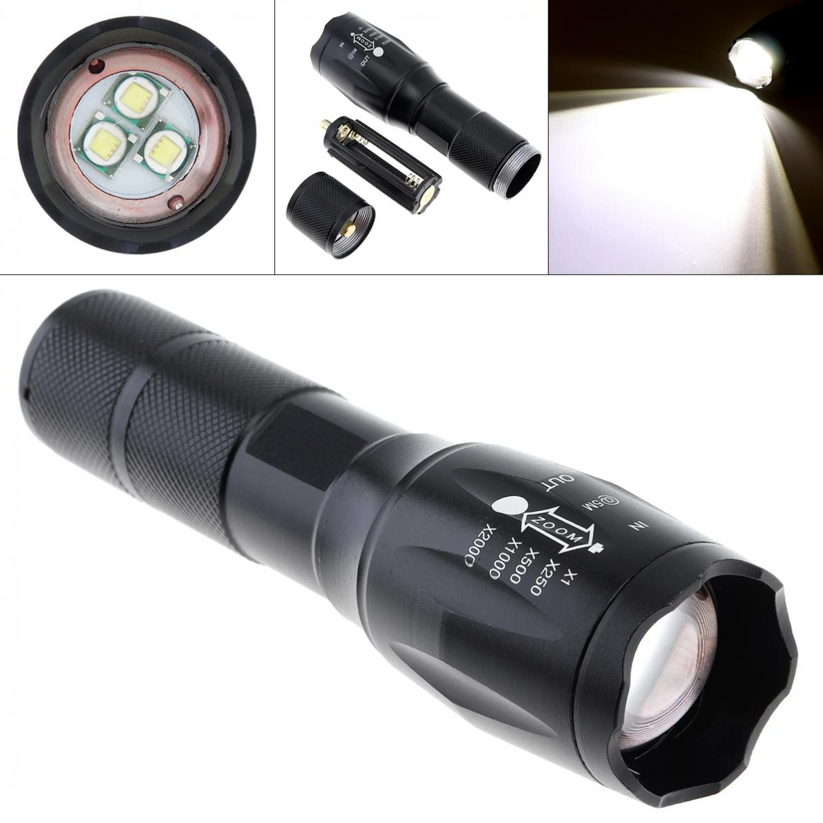 18650 Battery Black BE New Bright 3000LM T6 LED Zoomable Flashlight Torch