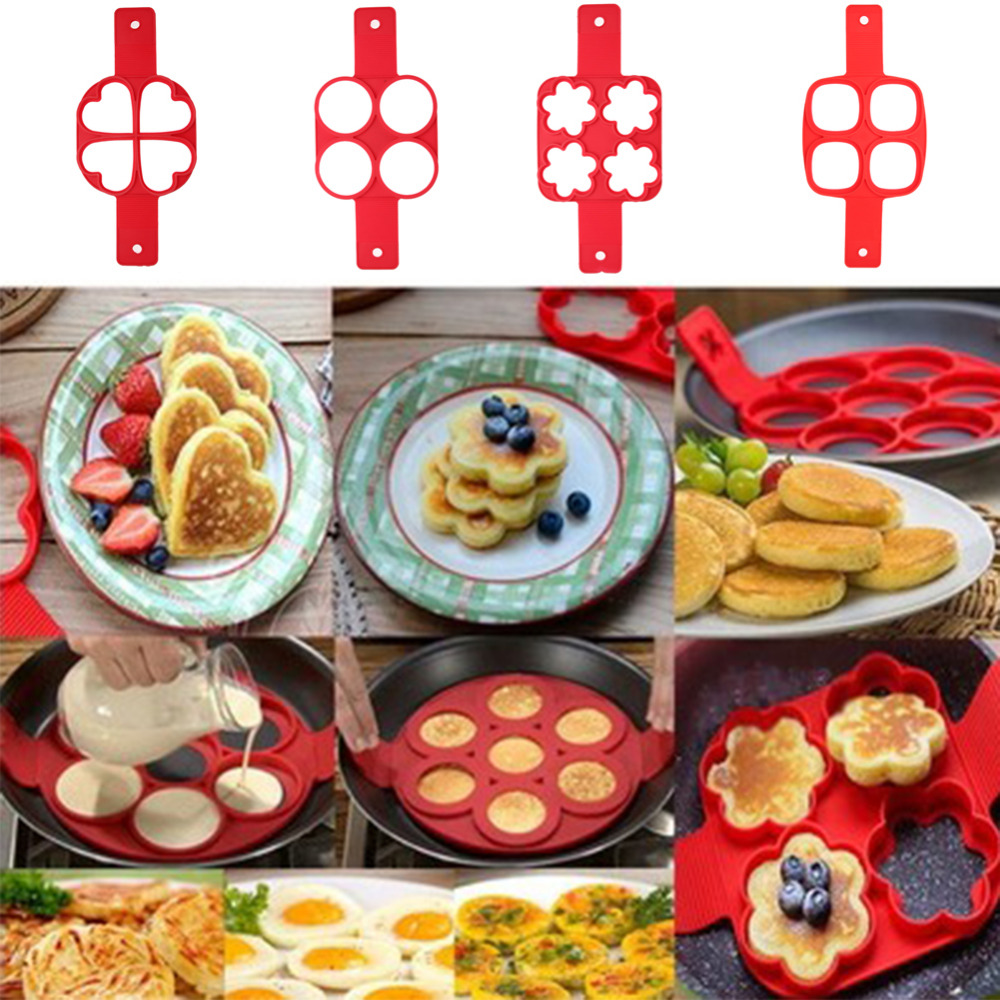 4 Holes Nonstick Pancake Maker Molds Silicone Mold For Frying Pan Round/Square/Heart/Flower Shape Mould DIY Cooking Gadgets
