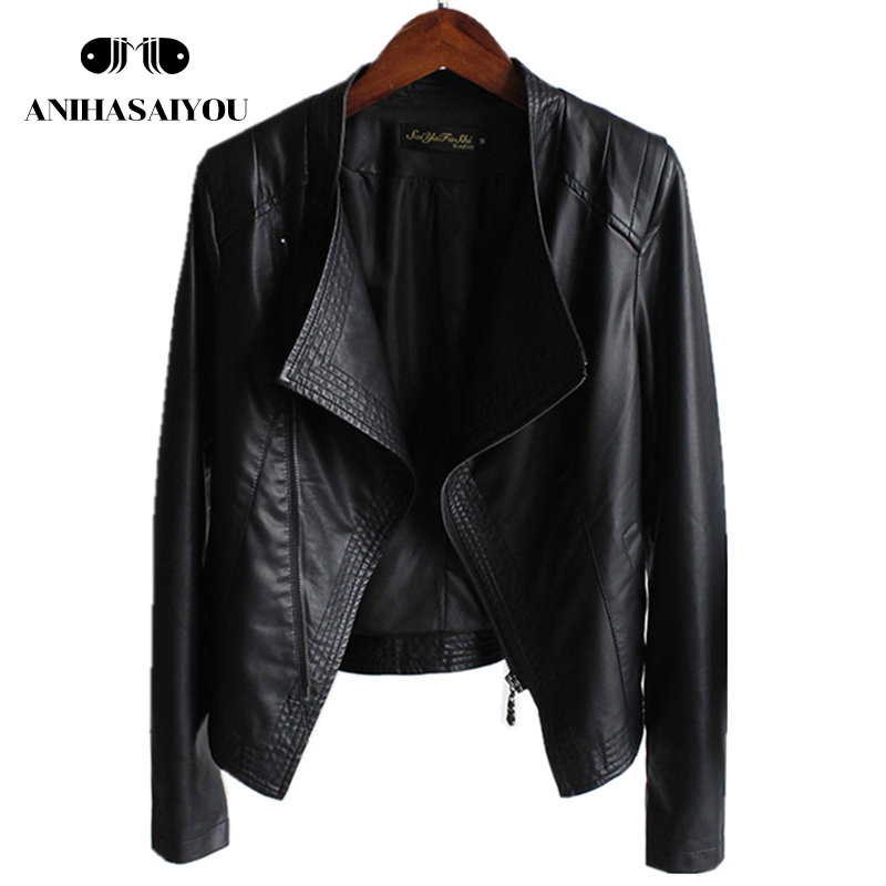 2018 spring new faux   leather   jackets women collar slim short Pu washed   leather   jacket Zippers   suede   faux   leather   jackets