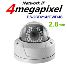 HIK Original CCTV Camera DS-2CD2142FWD-IS 4MP PoE Outdoor Dome Security IP Camera Built-in Micro Card Slot &Alarm I/O Lens 2.8mm