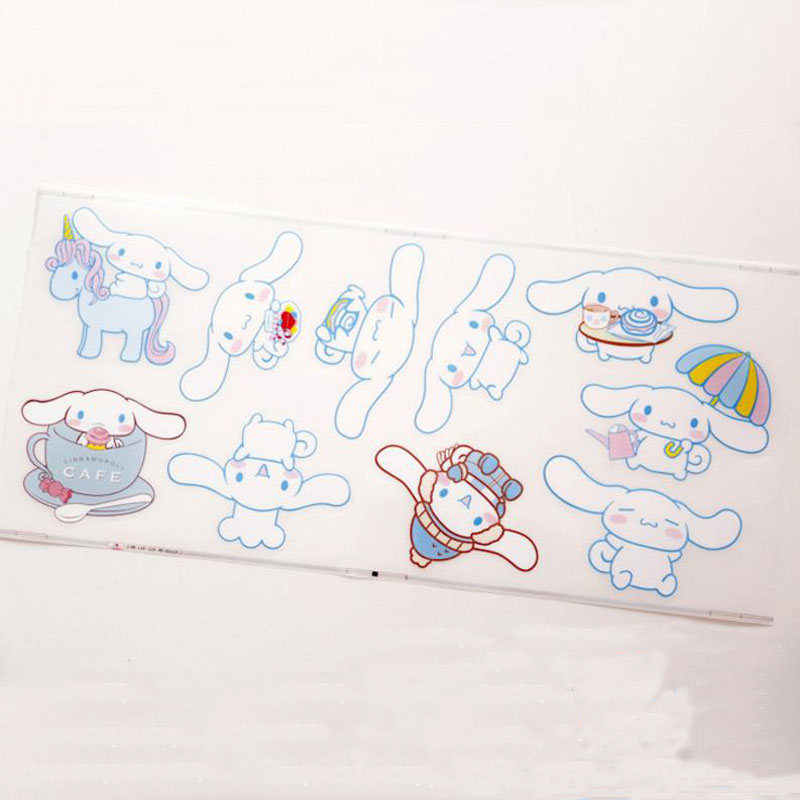 1Sheet New Cartoon Sanrio Cinnamoroll Pudding Dog Twin Stars Penguin Waterproof Sticker Glass Switch Decor Stickers Classic Toys