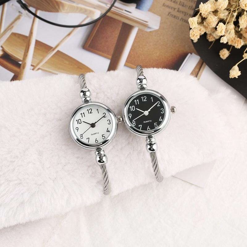 Unique Women Bracelet Watch Little Smooth Dial Top Luxury Silver Slim Strap Korean Retro Art Female Clock Quartz Watch Gift Hour 2018 2019 (41)