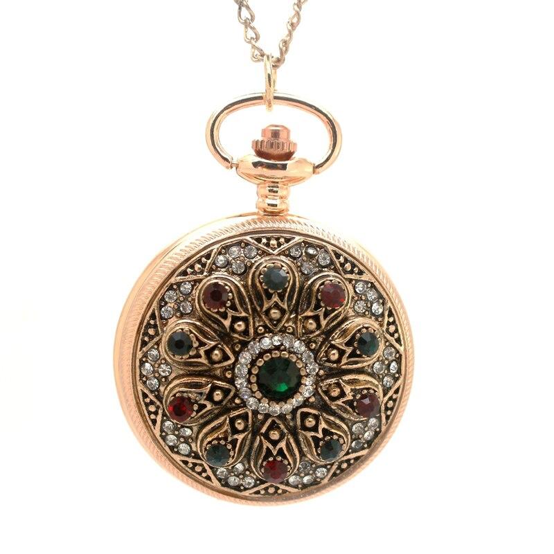 1147-1) винтажное Золотое Королевское Дворцовое богемное стильное блестящее стекло камень карманные часы ожерелье 6 шт./партия отличный подарок