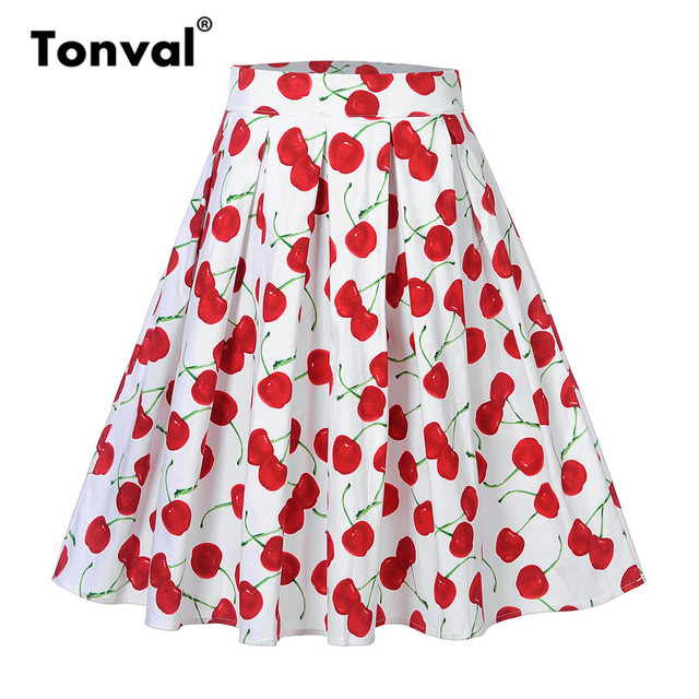Tonval Cherry Pattern Print Women White Pleated Skirt Faldas Midi Skirts High Waist 1950s Style Vintage