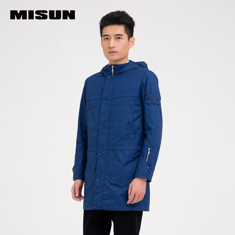 0b1b76828768 MISUN 2018 primavera chaqueta de los hombres azul recto o-cuello cremallera  con capucha zanja delgada medio-largo de los hombres rompevientos MSMJ-G0507