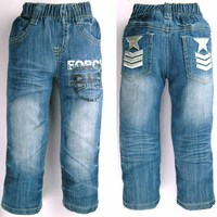 2 6 Years Teen Boy Denim Trousers Letter Printed Elastic Waist Kid Jeans Star Embroidery Children