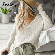 Fitshinling Irregular V Neck Autumn Sweater Female Hollow Out Thin White Pullovers Women Sweaters Knitted Jumper Pull Femme Sale white hollow out scoop neck high low hem jumper