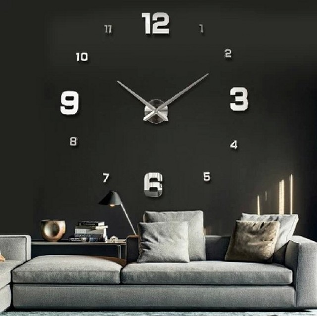 Blue Sky Sea 100Cm*100Cm Quiet Movement Big Digital Wall Clock
