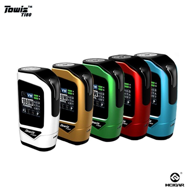 Оригинал Hcigar Towis T180 электронной сигареты Сенсорный экран поле Mod с XT180 чипсет 5-180 Вт Выходная TPS TFT цвет Экран MOD