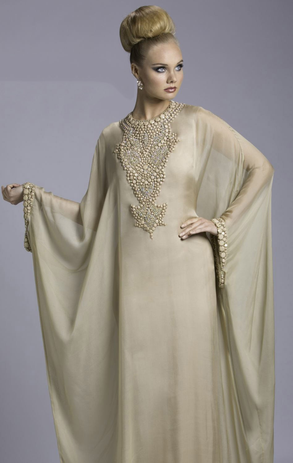 Transparent Chiffon 2014 New Muslim Abaya Button Embroidery A Line