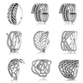 ff9ffdc6d947 Brillante océano cósmico líneas anillo con cristal de Plata de Ley 925  firma anillo para las mujeres de la boda de la joyería de Pandora