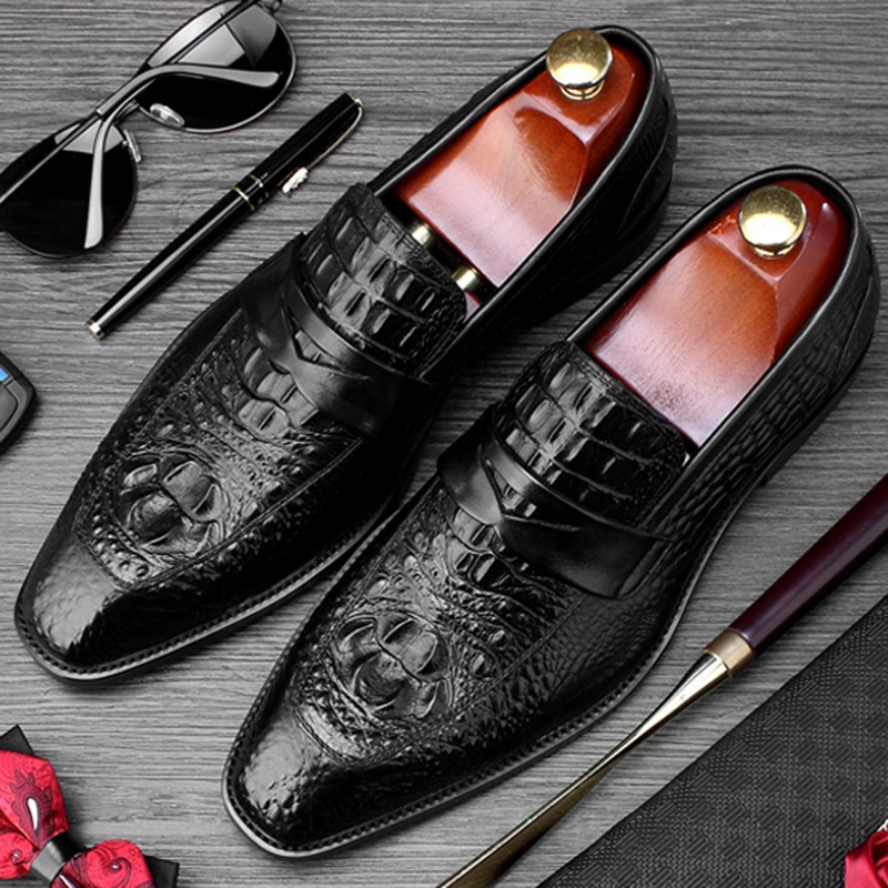 High Quality Round Toe Man Casual Shoes Genuine Leather Comfortable Alligator Loafers Formal Mens Office Business Flats SS414High Quality Round Toe Man Casual Shoes Genuine Leather Comfortable Alligator Loafers Formal Mens Office Business Flats SS414