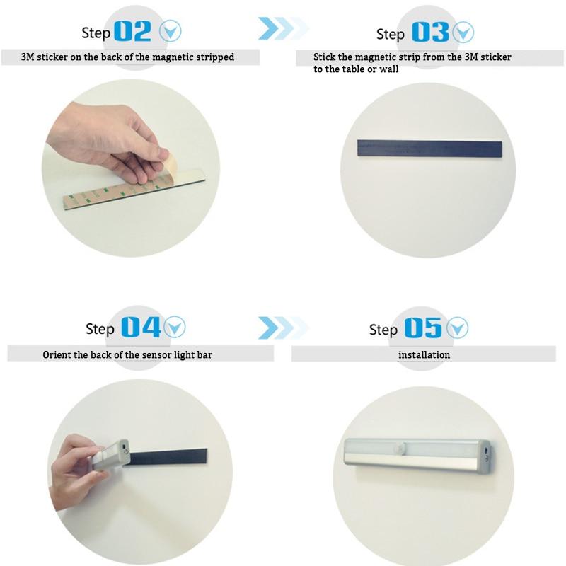Portable LED Under Cabinet Light USB Charging Motion Sensor Closet Wall lamp Rigid Bar Light Wardrobe Emergency Lighting USB0406