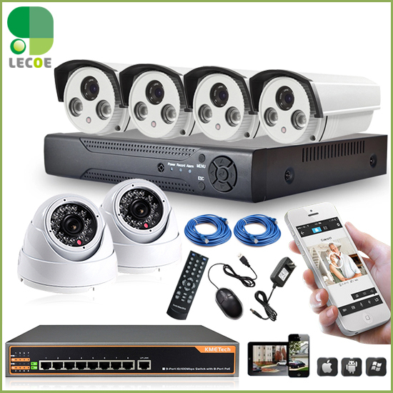 CCTV 8CH POE security System/kit with 8CH 1080P NVR ,6pcs 720P POE Cameras and 8ch POE Switch .330ft POE transmision new 8ch