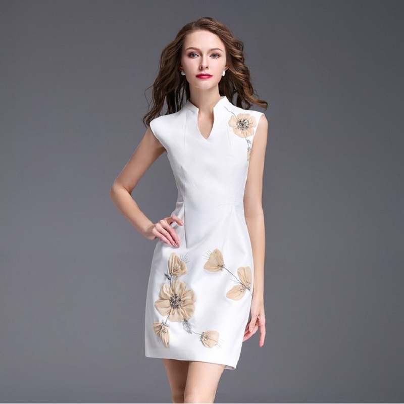 hot sale Work Pencil dress 2018 new High quality spring summer Women Clothing flower Party Dress