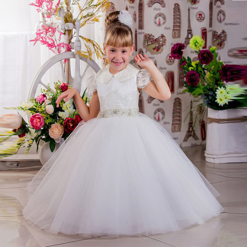 2017 New Arrival Flower Girl Dressace Appliques Short Sleeve With Beading Waist Custom Made Ball Gown Communion Gowns Vestidos new arrival flower girls dresses high quality lace appliques beading short sleeve ball gowns custom holy first communion gowns