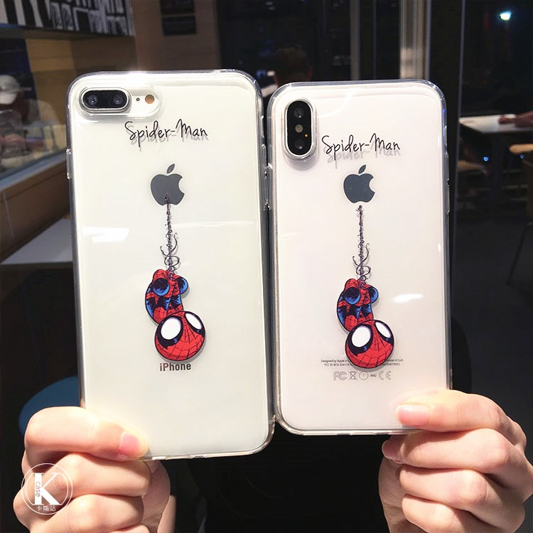 JeKacci Spiderman Case for iPhone 7 Cute Cartoon Soft Silicone Clear Phone Cover for iPhone 6 6s plus 5 5s Se 7 8 X Xs Max Case iPhone
