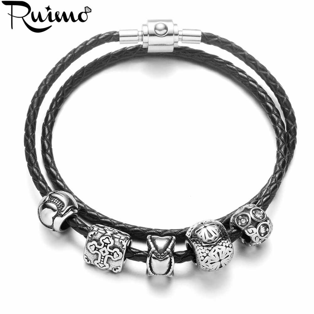 RUIMO Vintage Double Layer Genuine Leather Braided Chain Women Bracelet 316L Stainless Steel Beads Women Bracelets & Bangles