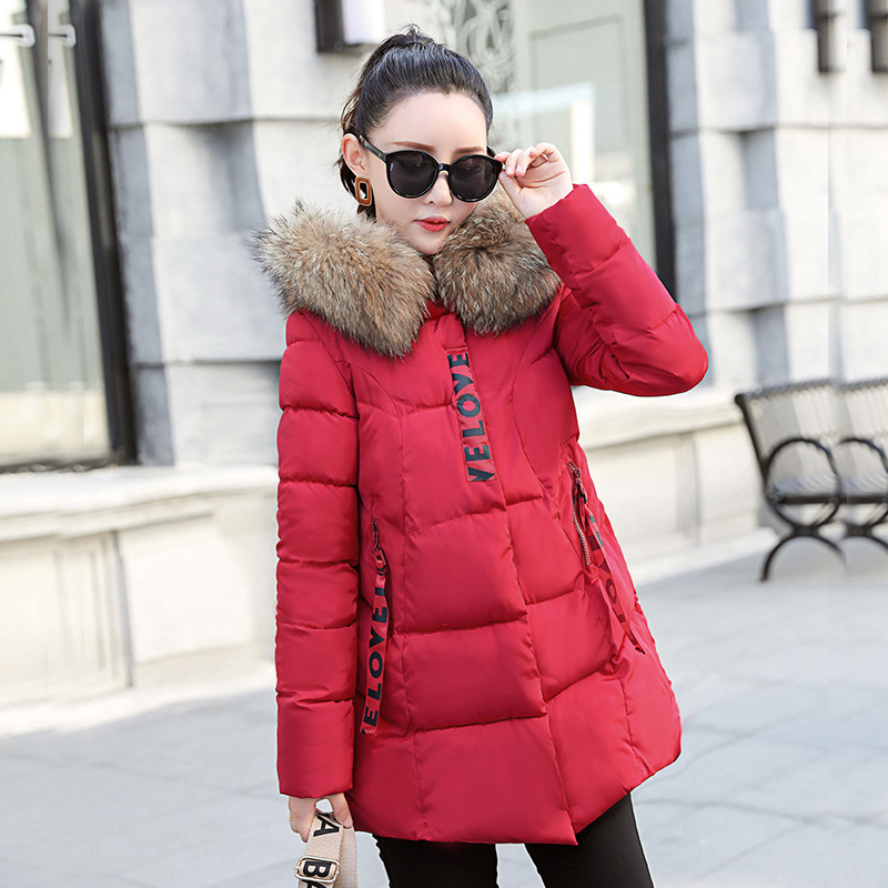 2019 Winter Jackets Coat Fashion Women Big fur collar Thicken Warm jacket Coat Famale Parkas Long Hooded Parkas mujer image