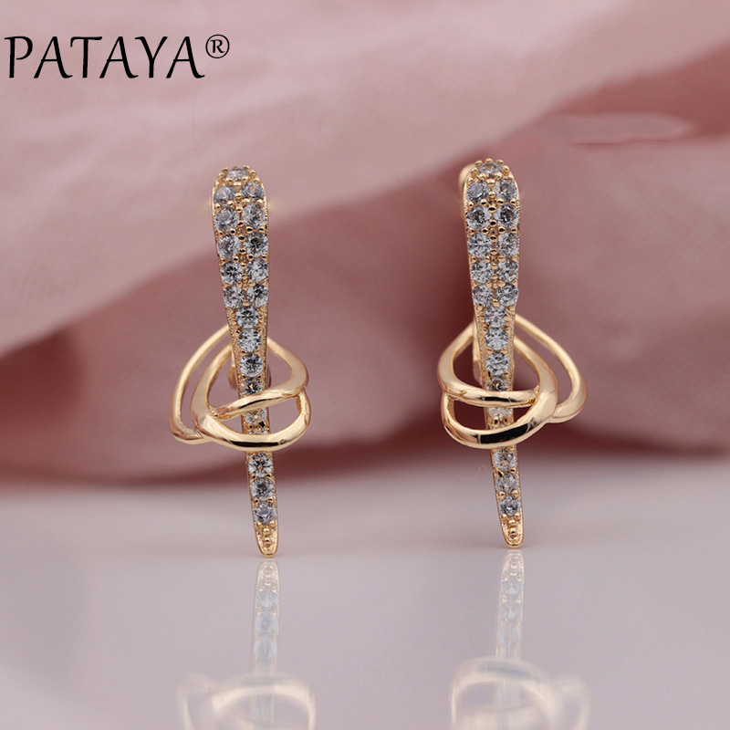 PATAYA New Arrivals Micro-wax Inlay Natural Zircon Long Dangle Earrings Women Wedding Party Unique Shuttle Symmetry Fine Jewelry