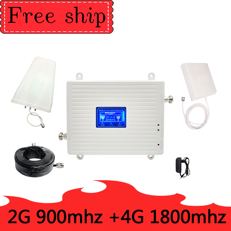 70dB Gain GSM 900 LTE 1800 2G 4G Dual Band Mobile Signal Repeater GSM 4G LTE Cellular Booster Amplifier 2G 4G Antenna