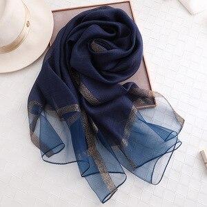Image 3 - Fular de seda de color liso para mujer, chal musulmán de gasa, para playa, 2020