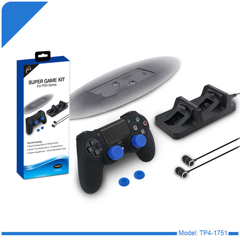 PS4 Accessory Kit Dual Controller Charging Station+Earphone+Silicone Case+Thumbstick Grip Cover+Vertical Stand for PS4 Slim PRO
