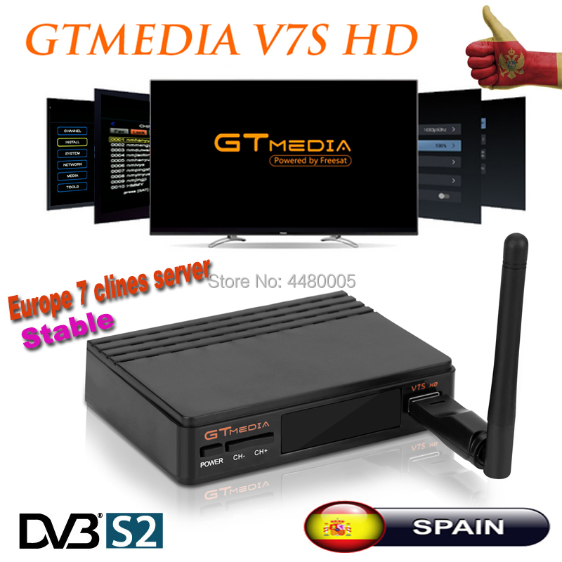 Gtmedia V7S DVB-S2 Satellite tv receiver Freesat v7 Support PowerVu,DRE Biss key Spain Cccam Cline For 1 Year