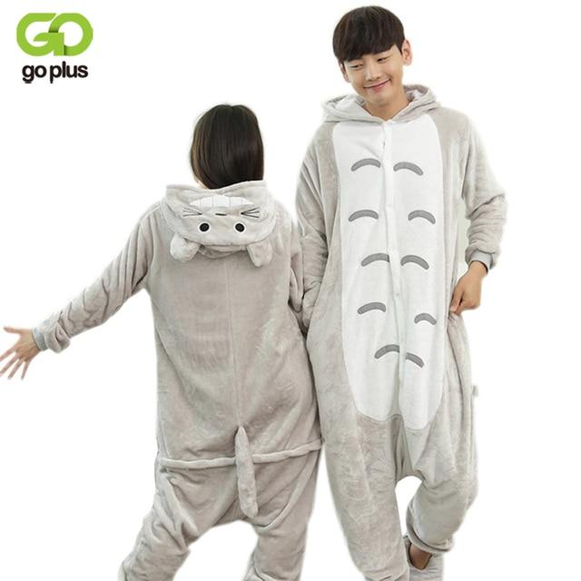 GOPLUS Invierno Totoro Cartoon Adultos Animal ropa de Dormir de Franela Pijamas Animal Onsie OnePpiece Cosplay Totoro Pijamas Pareja Mujer