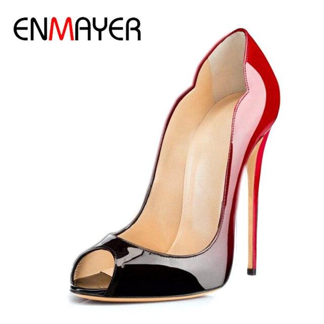 ENMAYER Women High Heels Patent Leather Leopard Pumps Peep Toe Ladies Sexy  Party Shoes Evening Dress