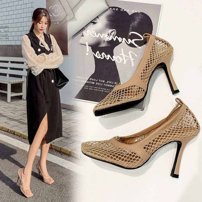 Chic Women/'s High Heels Chain Hollow Out Dress Party Shoes Square Toe Mesh Pumps