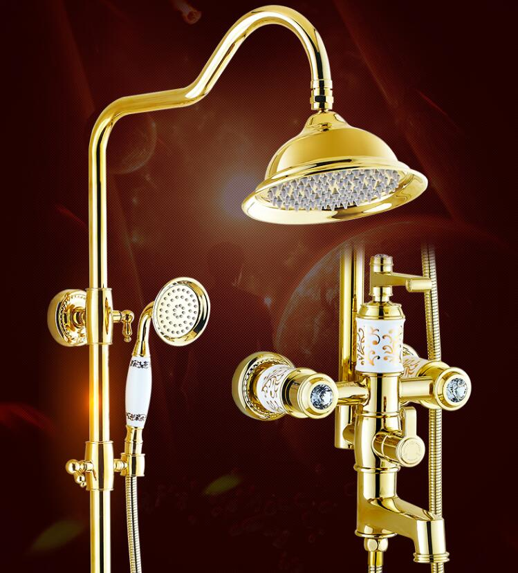 Europe style Rainfall Shower Faucet Set Wall Mounted bathroom gold finished Mixer Luxury Bath & Shower Faucet set hpb brass chrome finished thermostatic faucet bathroom shower faucets wall mounted bathtub mixer bath set fashion style hp5201
