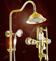 Europe style Rainfall Shower Faucet Set Wall Mounted bathroom gold finished Mixer Luxury Bath & Shower Faucet set