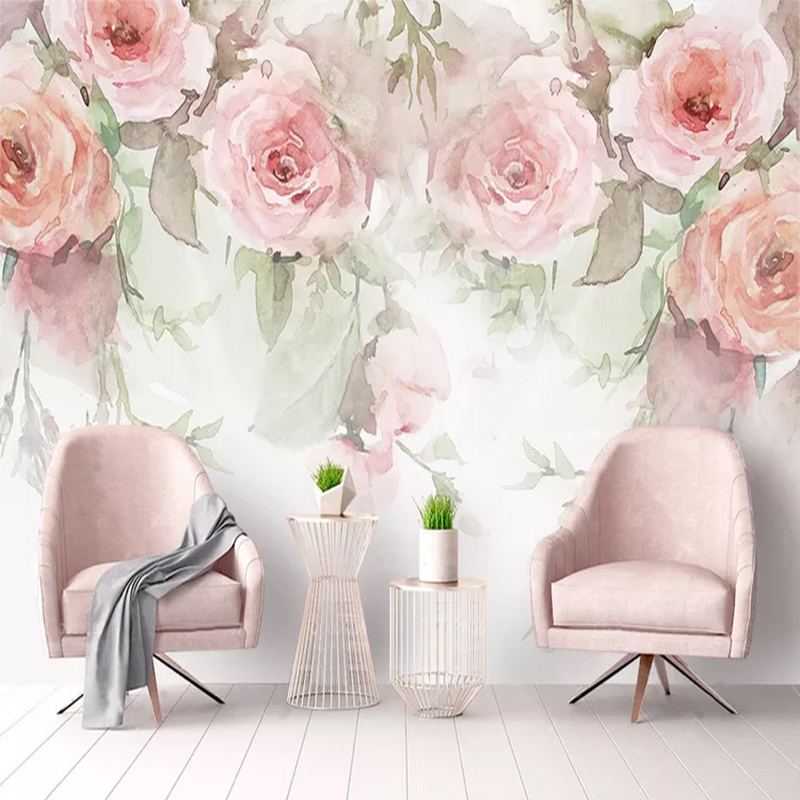 Custom Photo Wall Paper Rose Flowers Hand Painted Watercolor 3D Murals Wallpaper For Living Room Bedroom Wall Painting Modern 3D