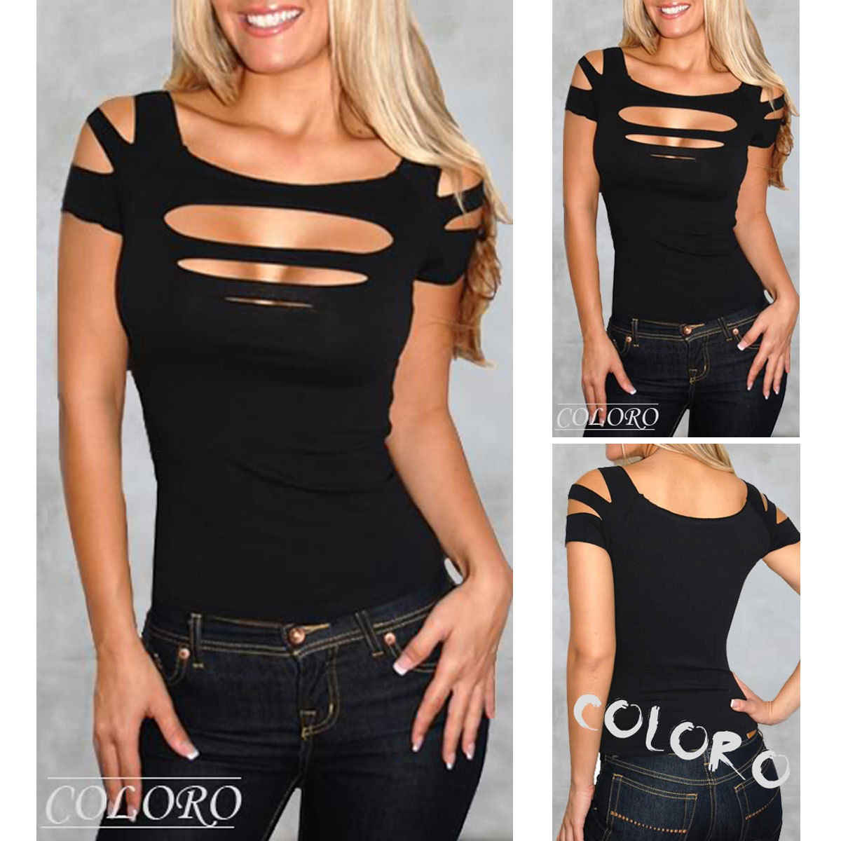 Gogoboi High Quality Fashion Ladies Womans Sexy Ripped Slashed Black Tight  T Shirt Top Clubwear Cut f3afa7061