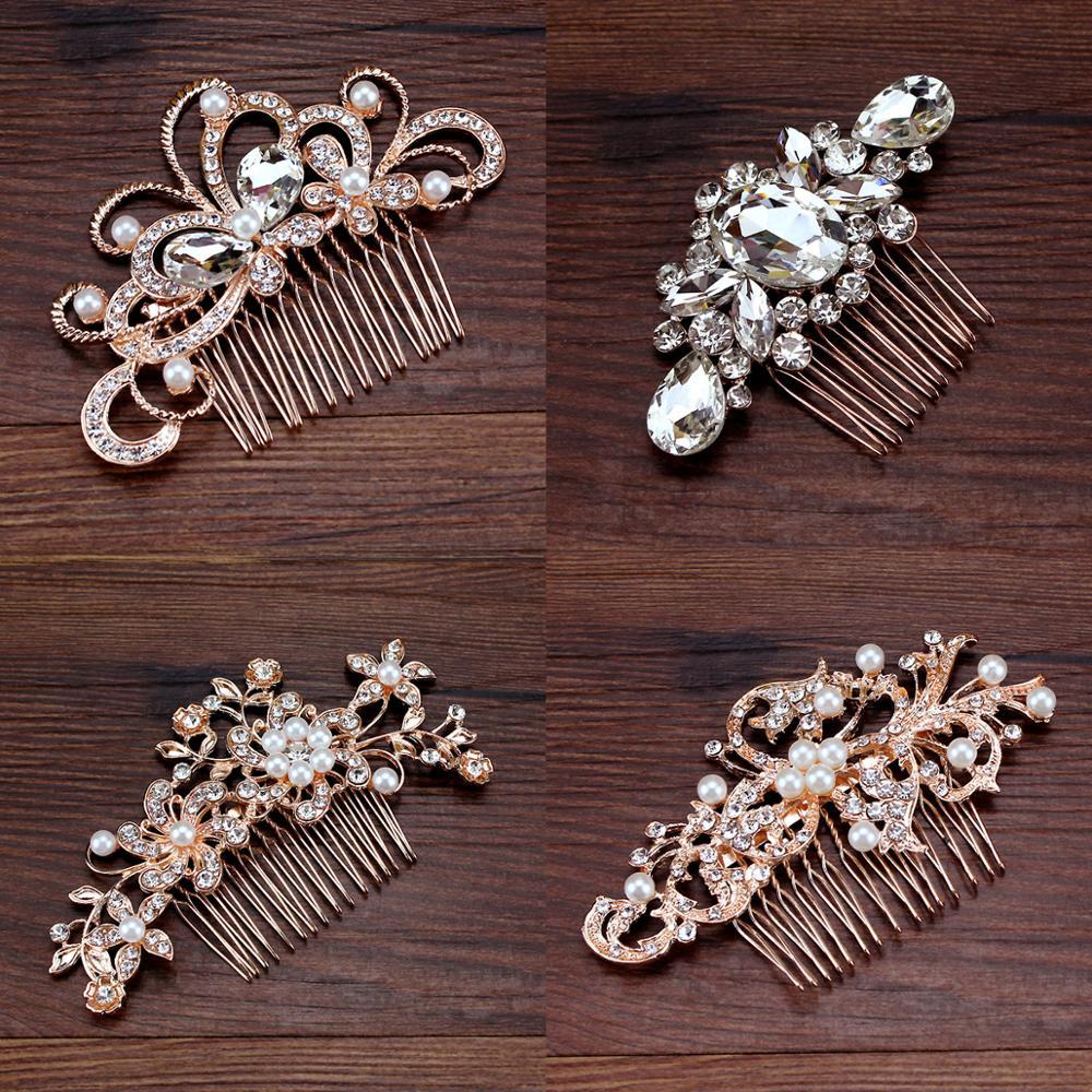 Clip Rhinestone Headpiece Bride Jewelry Wedding-Hair-Comb Crystal Pearl Rose-Gold Bridesmaid