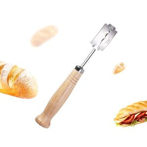 Image 2 - Specialty Bread Arc Curved Knife Wood Handle 5Pcs Replacement Blades Western Baguette Cutting French Toast Bagel Cutter