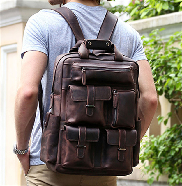 Vintage New 2016 Men's Genuine Leather Backpack Men Crazy Horse ...