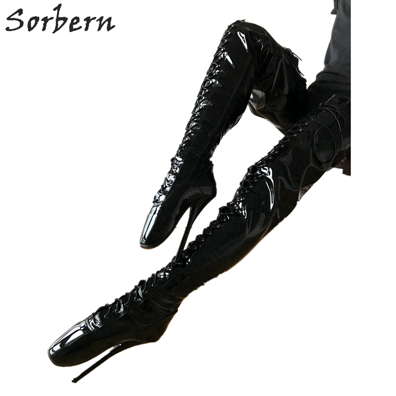 цена на Sorbern Sexy Fetish High Heel Boots Unisex Crotch Ballet Stiletto Custom Order Black Patent Boots 18cm Plus Size Lace-Up Shoes