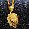 Tino Carlo Leo Lion King Head Face Pendant Golden 316L Stainless Steel HipHop Necklace With 70cm