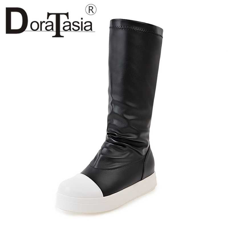 DoraTasia Büyük Boy 34-42 Eklemek Kürk Düz Topuklu Kalın Alt Kadın Ayakkabı Üzerinde Kayma Sonbahar Kış Karışık Renk kızlar Orta Buzağı Çizmeler