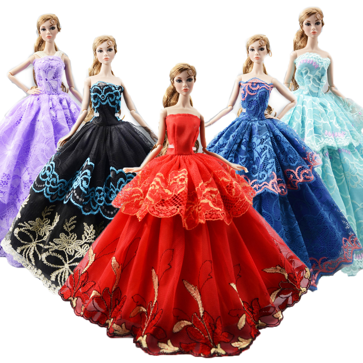 998b97621c723 Fashion 5x Dress Mixed Style Wedding Party Gown Princess Skirt ...