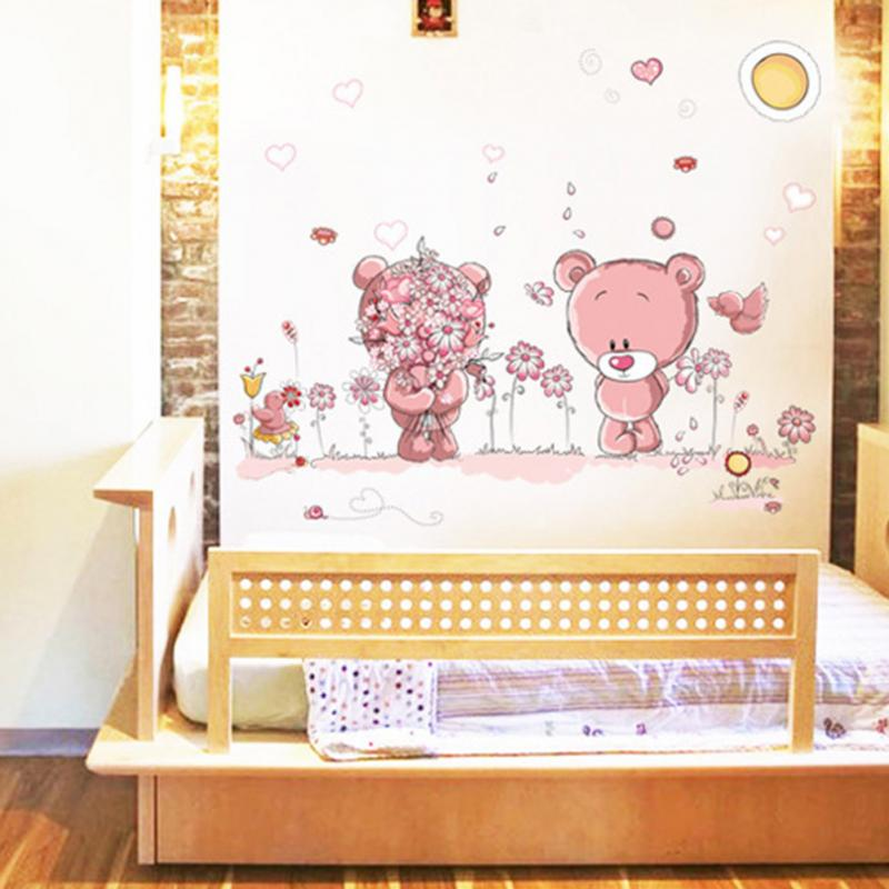 Aliexpress.com : Buy Removable Cute Couple Bear Wall Stickers Art Decal Wall  Post Nursery Girl Baby Children Bedroom Docor From Reliable Bedroom Heater  ... Part 93