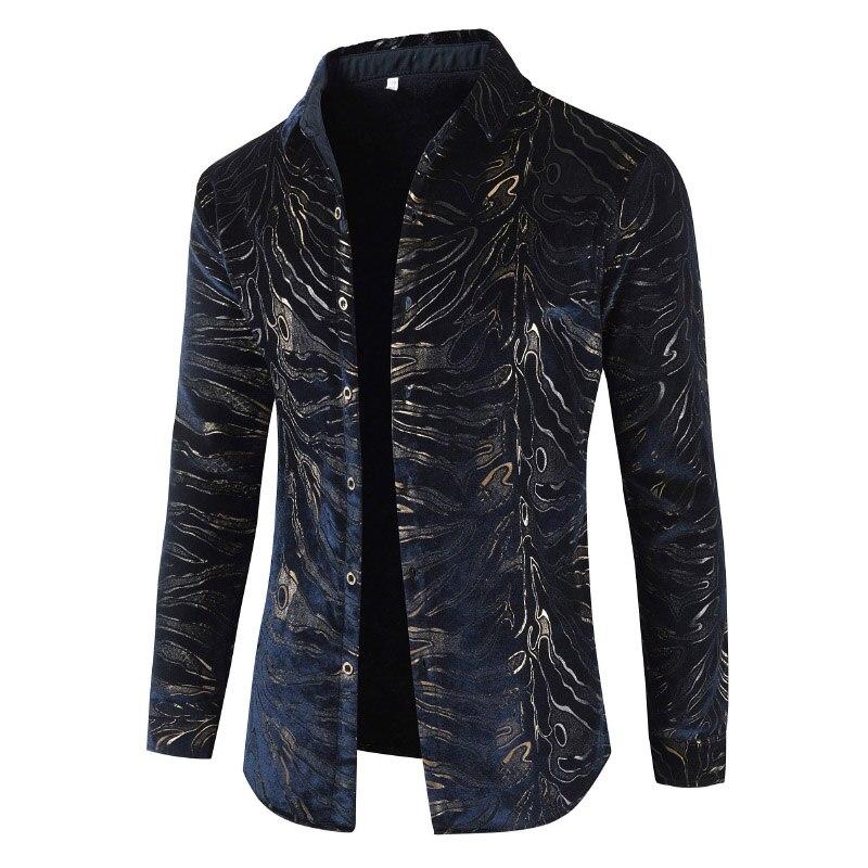 Soie De Épais Luxe Velours Flanelle Mens Mince Vêtements Color Automne Hiver Hommes Pic Robe Léopard Imprimé Occasionnels Chemises 2018 nAOqS8