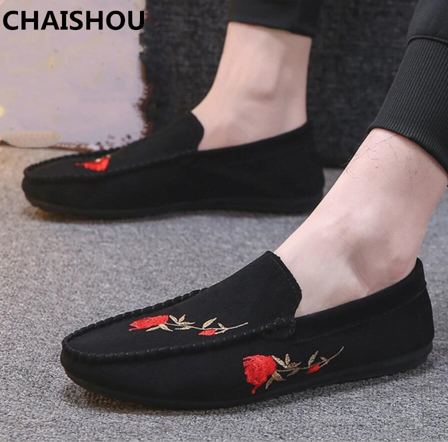 CHAISHOU Shoes Men Loafers Flats Ultralight Black Breathable Casual Summer Red B-114