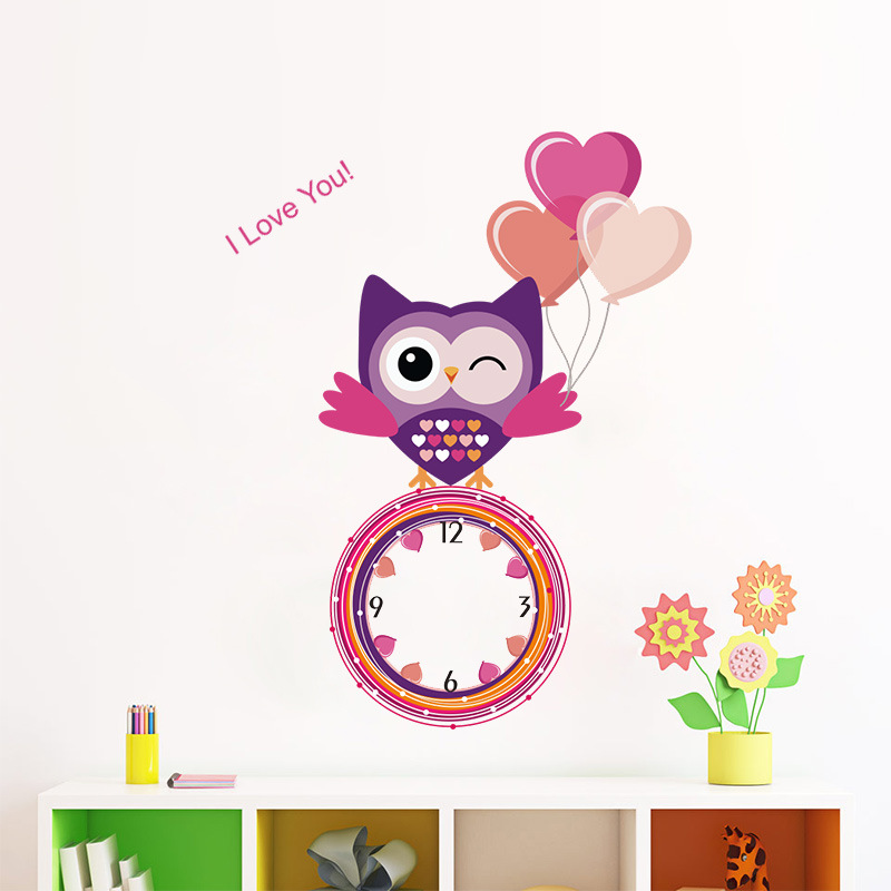 2017 top fashion new Modern clock watch Wall Stickers Cartoon Owl Kids Room Bedroom Living Room Decorative Wall Stickers
