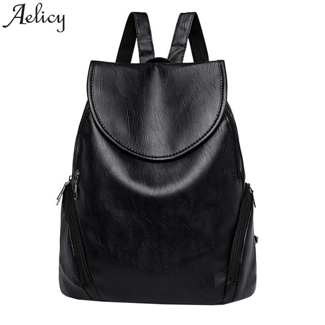 d369fa51745 Aelicy Girls Backpack Leather Student Satchel Travel Rucksack Women School  Bag female Bagpack   bags women 2018 mochila feminina