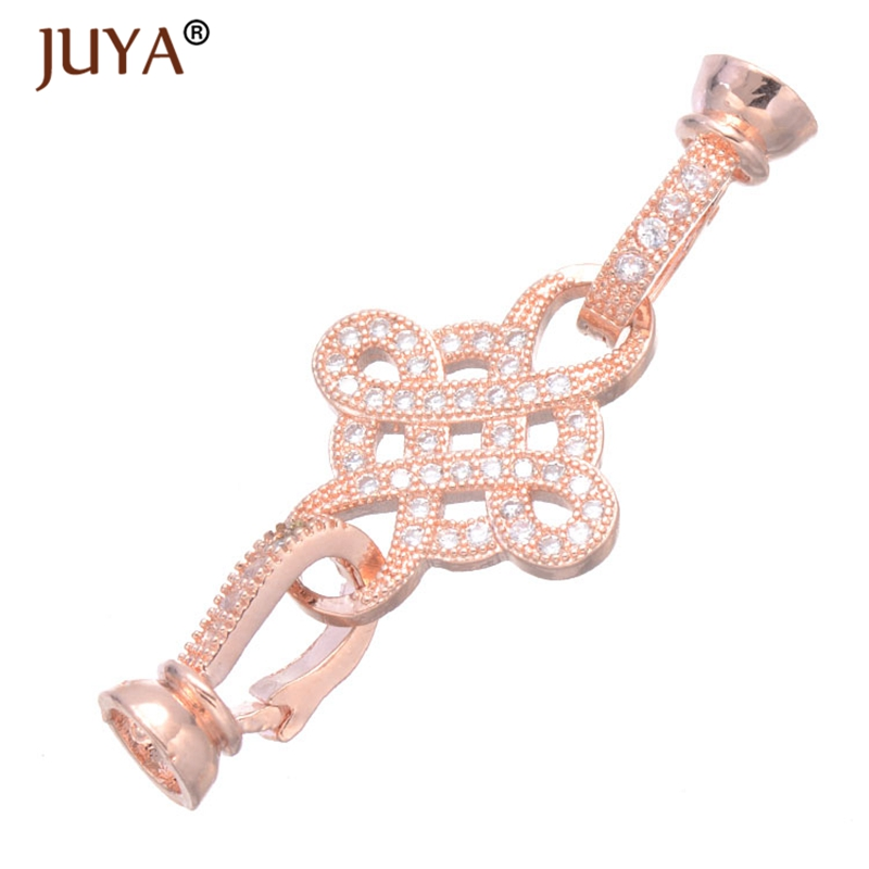 Rhinestone Chinese Knot Double Fold Over Clasps Connectors For DIY Gemstone Pearls Necklace Bracelets Beads End Caps Components