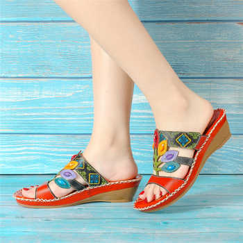 Socofy Bohemian Handmade Slippers Women Shoes Genuine Leather Beach Sandals Mid Wedge Bohemia Summer Shoes Woman Sandalias Mujer
