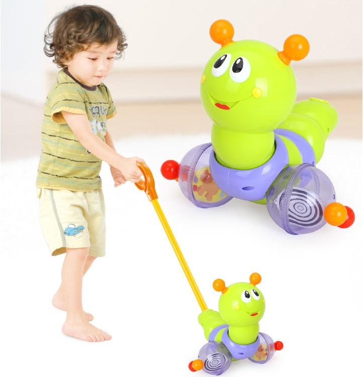 Haute qualité en plastique bébé promenades jouets pousser et tirer ver glissière horizontale infantile enfants développement précoce tige unique poussée à la main